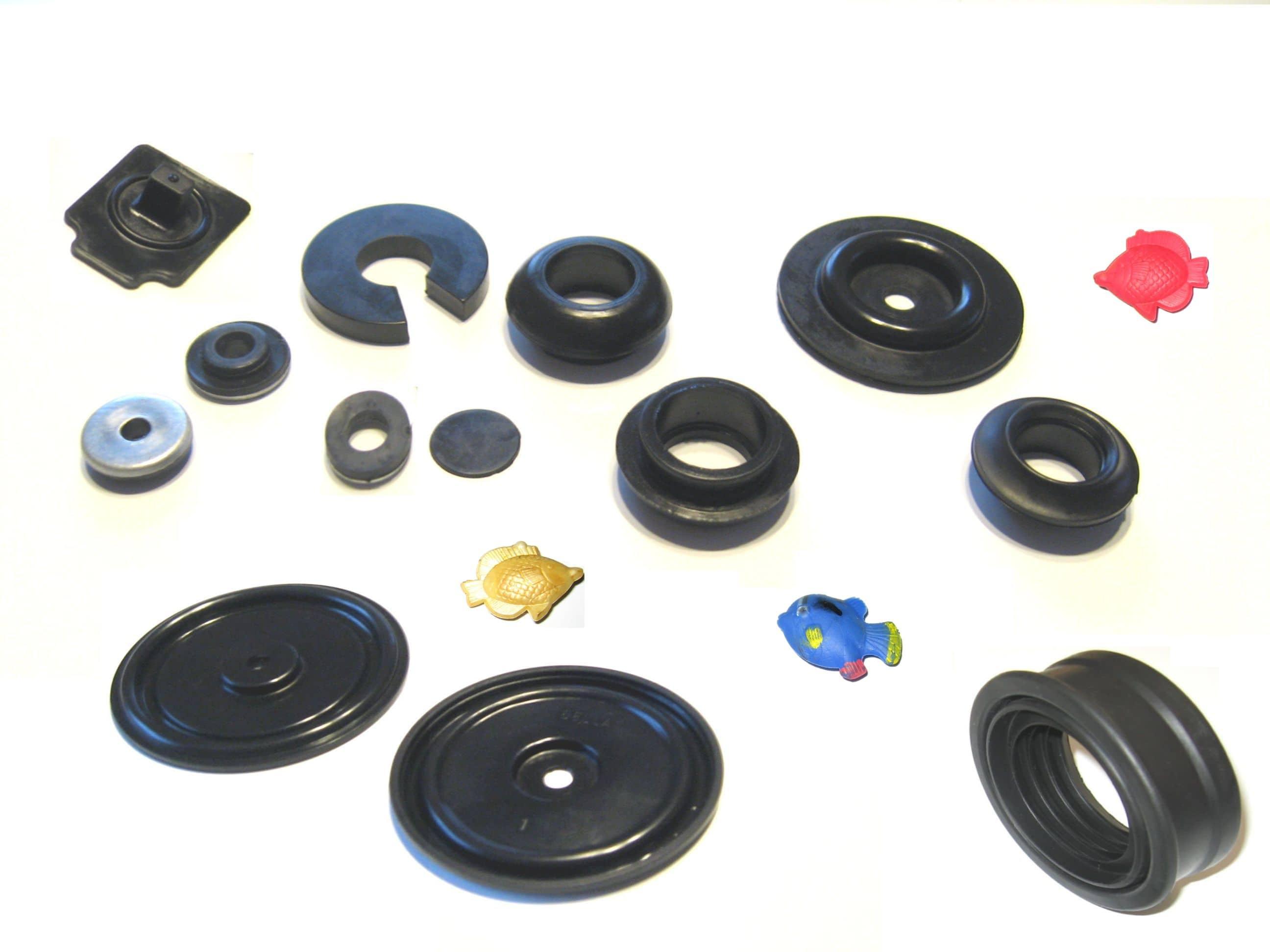 20. uszczelki, membrany, wkładki, podkładki, wyroby łączone gumowo-metalowe, rybki jako elementy do zabawek, produktów dekoracyjnych