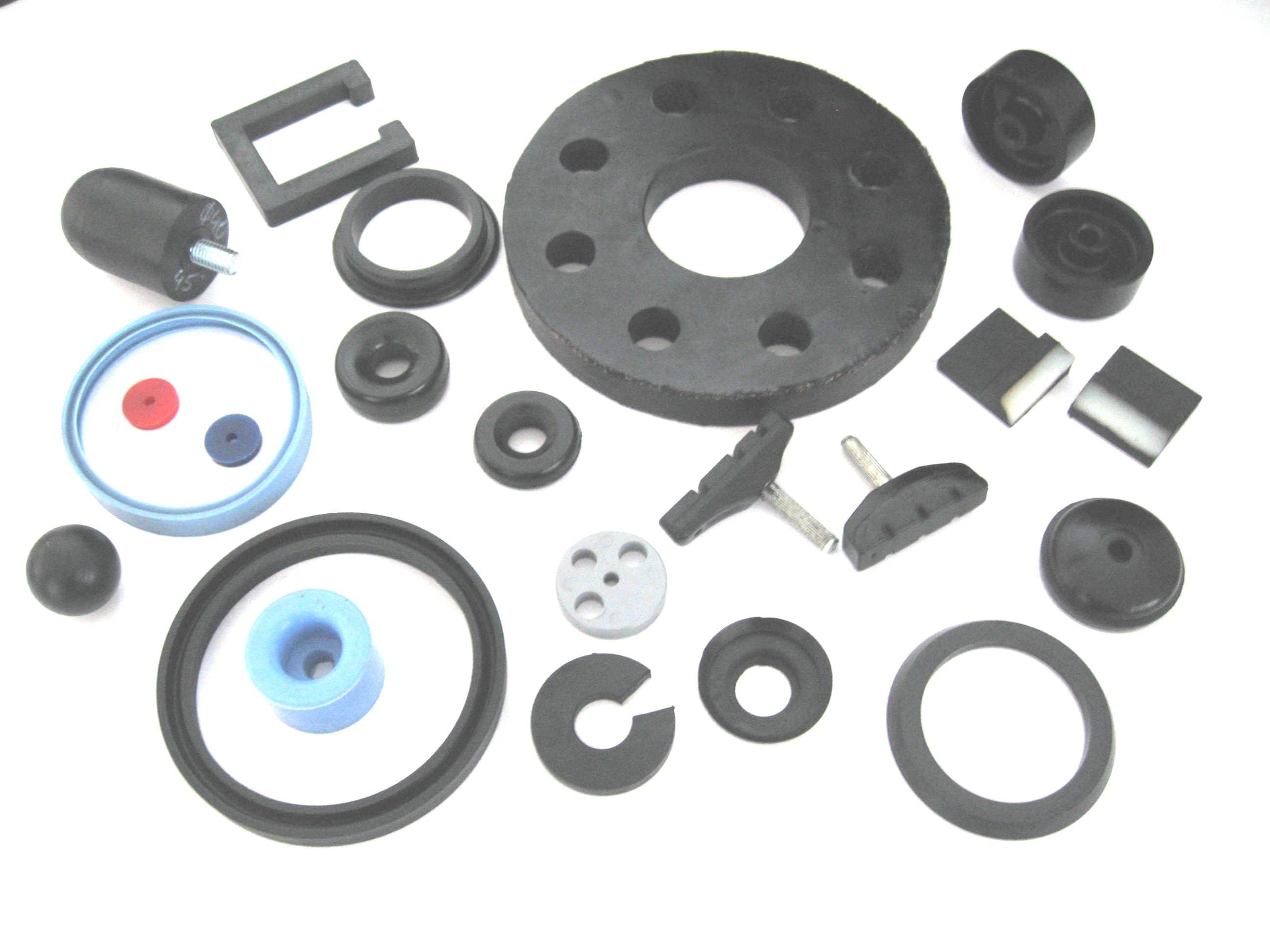 22. wkładki w tym: zbrojony gumowy wkład sprzęgła, wkładki - połączenie gumy z tworzywem, uszczelki silikonowe, kółka, różne odboje, nakładki na pedały,  klocki hamulcowe i inne